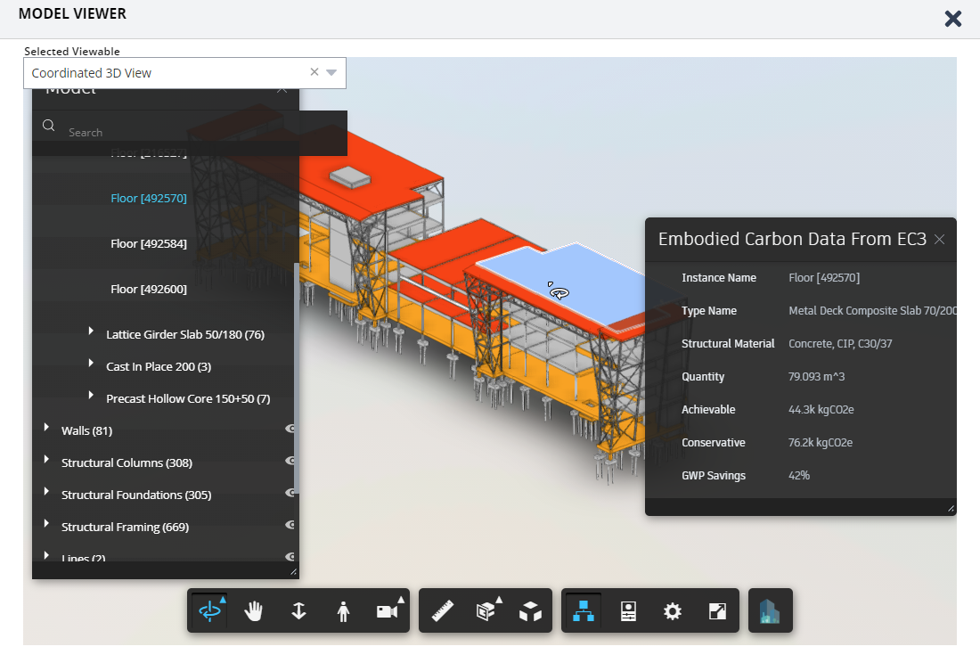 A screenshot of software showing counts of embodied carbon in a BIM model