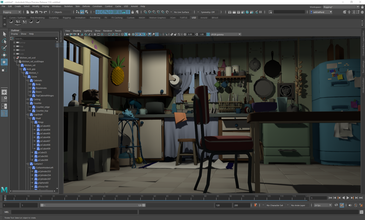 Screenshot of Autodesk Maya software showing an animated scene of a kitchen.