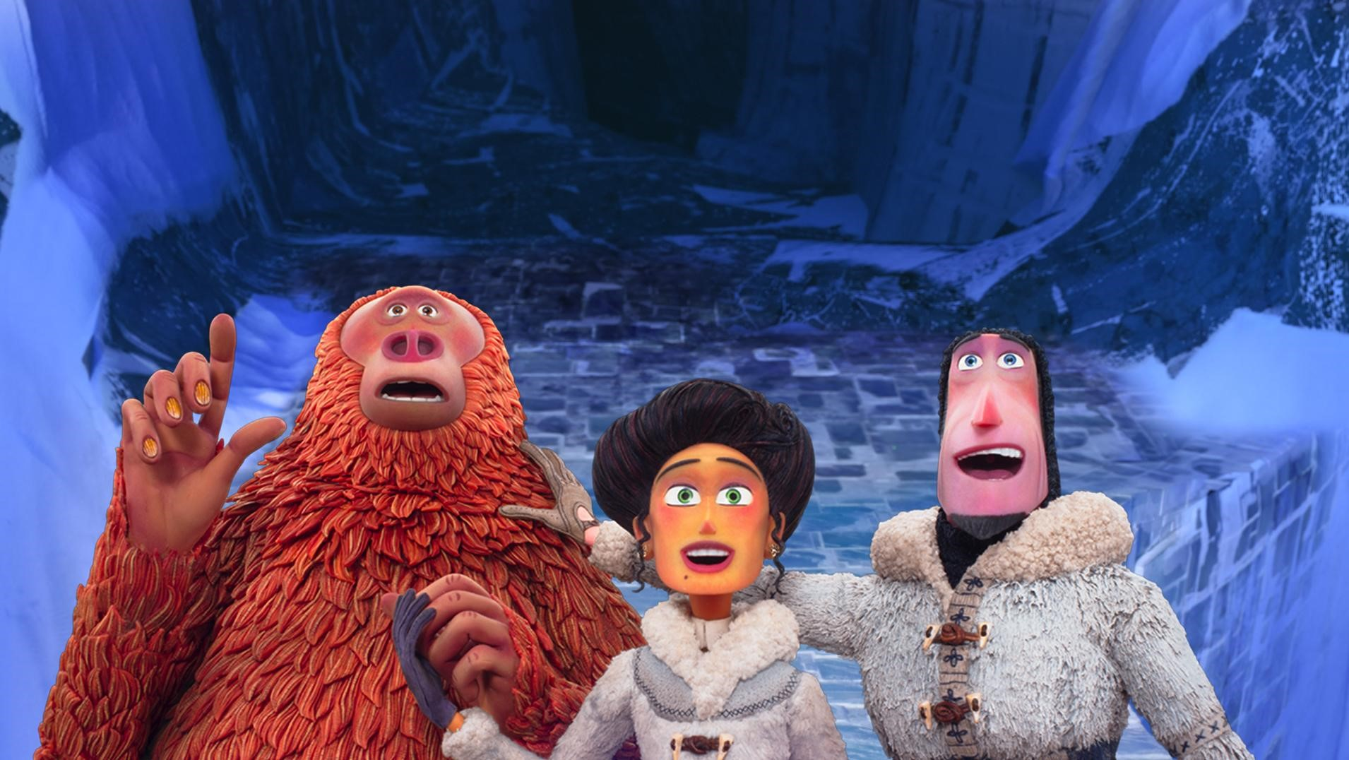 "Scene from ""Missing Link"" showing three animated characters with a look of awe on their faces."
