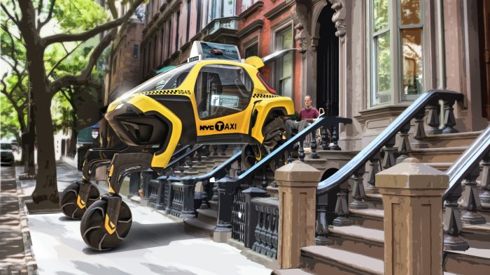 Hyundai Elevate concept vehicle, illustrated as an urban taxi, demonstrates vehicle's ability to help people with mobility challenges navigate cities.