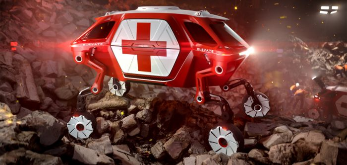 Hyundai Elevate concept vehicle, illustrated as an emergency vehicle, demonstrates ultimate mobility vehicle's sure-footed ability to navigate irregular ground such as in an earthquake rescue scenario.