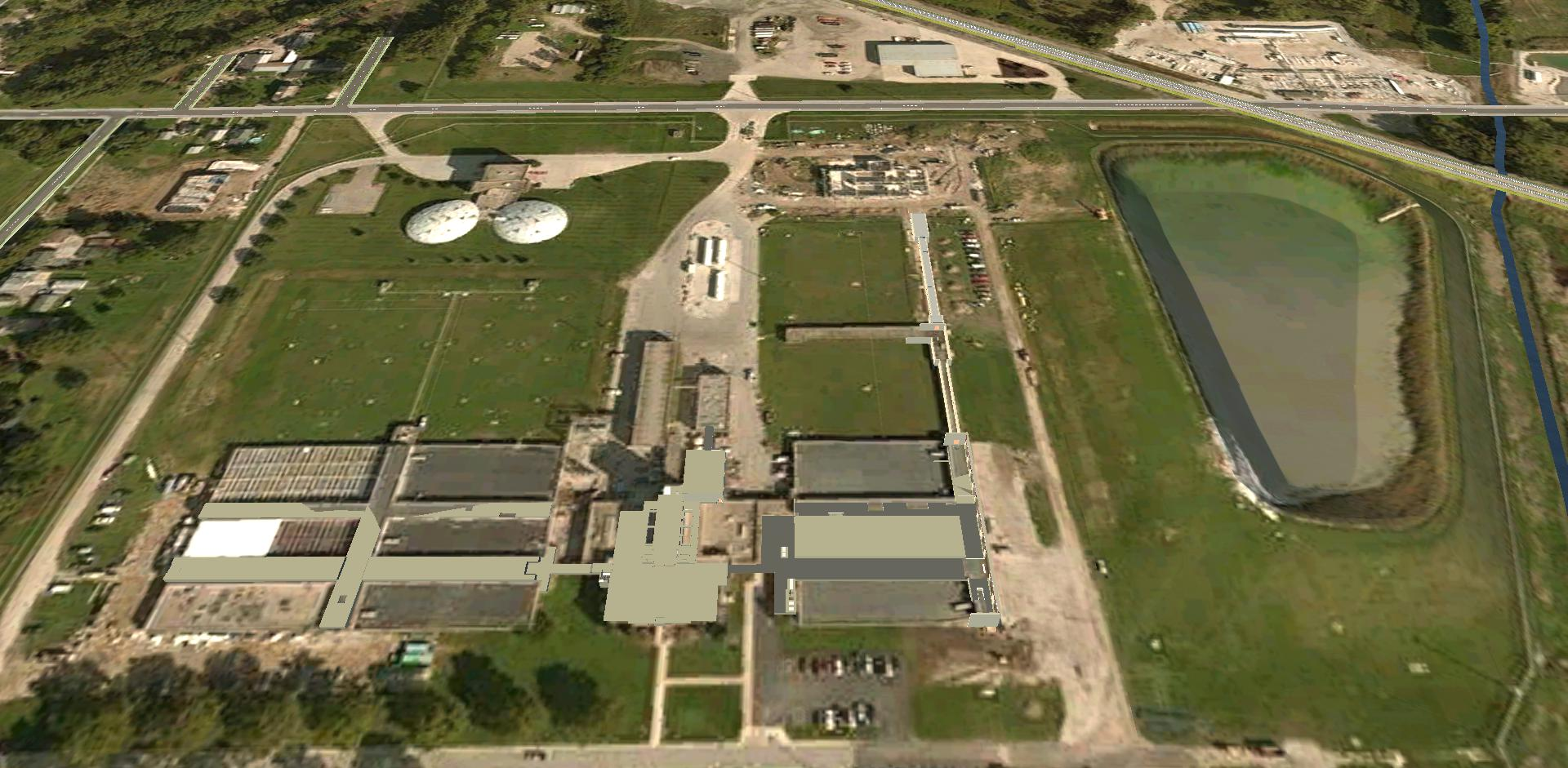 aerial view of Toledo's Collins Park Water Treatment Plant before the expansion and modernization project