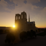 3d model of Notre-Dame Cathedralat sunset