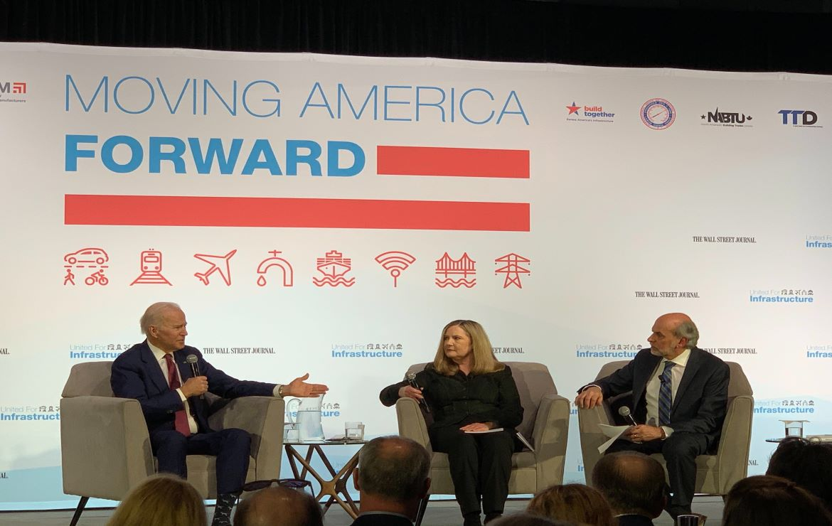 Autodesk sponsored United for Infrastructure's 2020 Presidential candidates forum,President Biden and US Transport Secretary Buttigieg on stage at United for Infrastructure's 2019 Presidential candidates forum