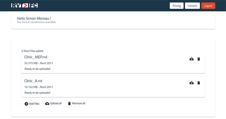screenshot of AEC app Revit to IFC converter
