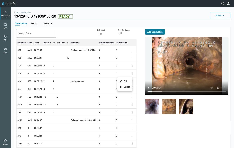 Screenshot of Innovyze Info360 Asset integrated inspection viewer.