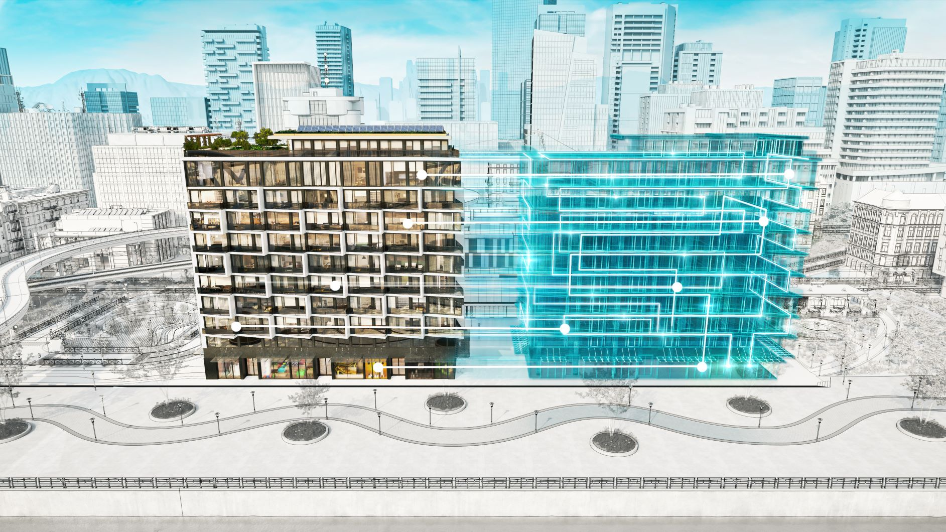 Image of a digital model of a building, also called a Digital Twin.