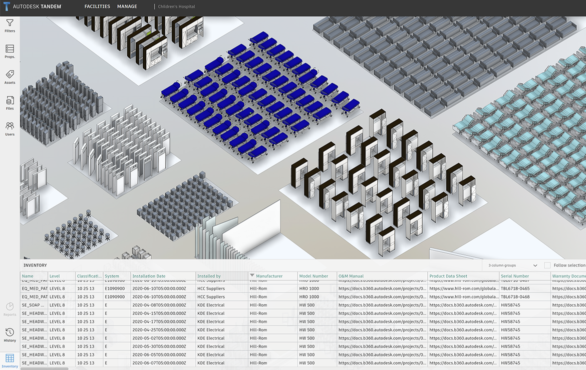 In product screenshot of Autodesk Tandem assets clustered by type.