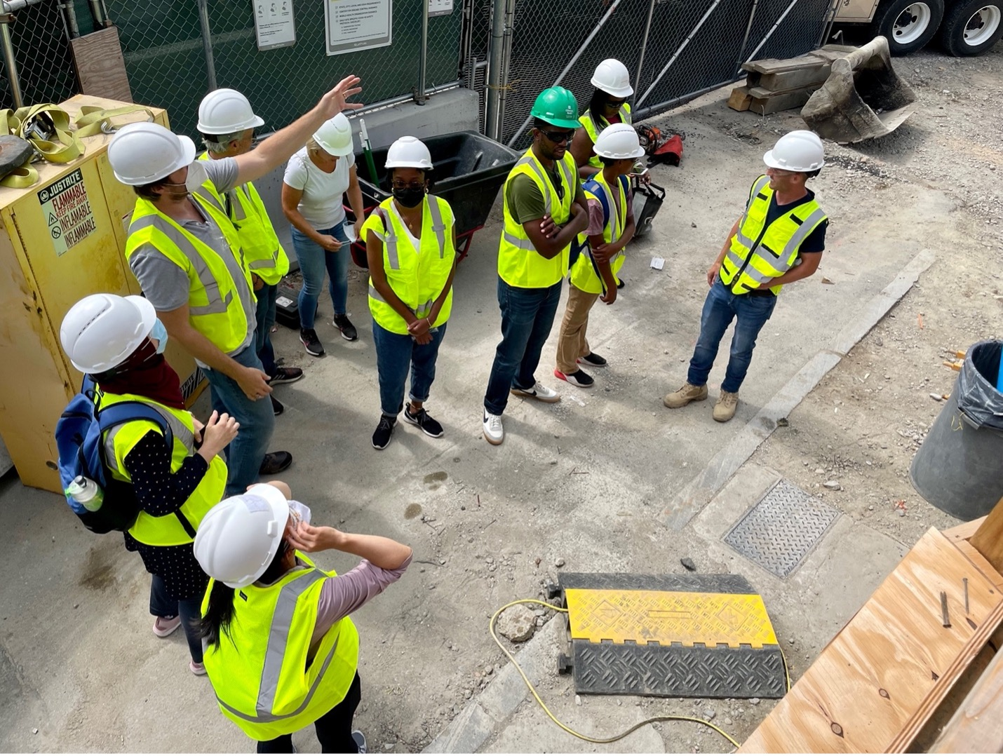 A group of construction educators on field trip.